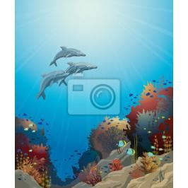 Fototapeta Dolphins and coral reef, underwater vector.
