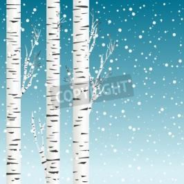 Fototapeta Winter background with birch trees and snowflakes